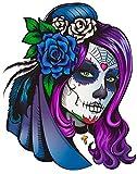 Pegatinas Coche Ilustración Chica Día de los Muertos 16 x 16 cm | Adhesivo de Fácil Colocación | Pegatina para Coche Económica y Resistente