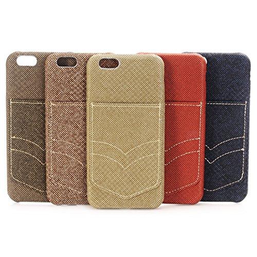 JING Pour iPhone 6 / 6s, étui de protection arrière en maille de poche Jeans avec emplacement pour carte ( Color : Gold ) Brown