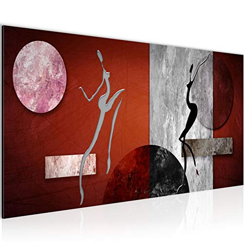 Photo Figures abstraites Décoration Murale 100 x 40 cm Toison - Toile Taille XXL Salon Appartement Décoration Photos d'art Rouge 1 parties - 100% MADE IN GERMANY - prêt à accrocher 301112b