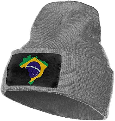 Reghhi Mens Womens 100% Acryl Strickmütze Cap, Brasilien Flagge Karte Original Skull Cap -