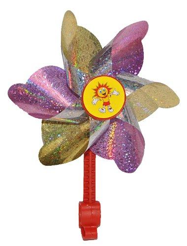 alles-meine.de GmbH Fahrradwindmühle für Kinder -  rosa  - passend auch für Roller, Dreirad, Laufrad - Fahrrad Windrad Windmühle Deko Zubehör - Mädchen & Jungen - Kinderfahrrad.. -