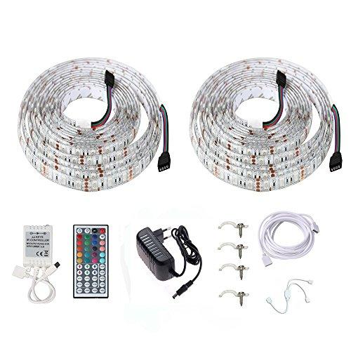 Minger LED Streifen Bett Lichtband RGB 2x 1.5M / 2x 4.9ft 5050 SMD Wasserdicht Nachtlicht Stimmungslicht Mit 44 Tasten Fernbedienung und 12V Adapter für Kinderbett, Schrank, Sofa, usw.