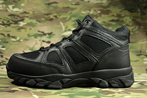 Suetar Scarpe da Trekking tattiche in Pelle Stivali da Combattimento Militari Traspiranti e Impermeabili Resistenti e Antiscivolo e Confortevoli Black