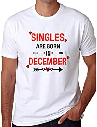Grafytees Singles Are Born In December Arrow White Unisex Graphic Printed Birthday Month Round Neck T-Shirt