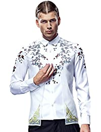 FANZHUAN Camisa De Hombre Manga Larga Fashion Slim Fit Two In One Flores Casual