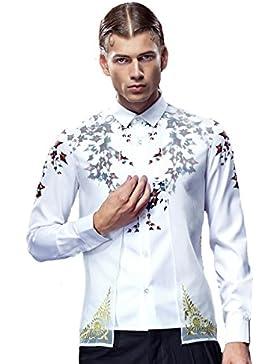 [Sponsorizzato]FANZHUAN Camicia Uomo Classica Bianca Floreale Slim Fit Elegante Two In One Non Iron