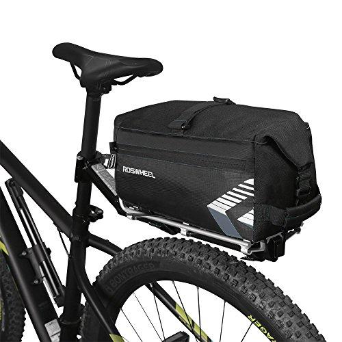 Bolso de asiento trasero de la bici de Roswheel, bici de la capacidad masiva de 6L Bolsa del asiento trasero Bolso de ciclo de la bicicleta Bolso trasero del tronco del estante con la correa de hombro Bolso dos para el viajar al aire libre Caza que conmutan