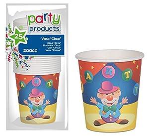Party- Pack 25 vasos cartón, Circo (68220)