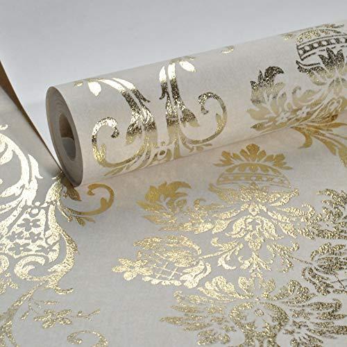 ASGJLH Damast Metallic Glitter Gold Tapeten Für Wohnzimmer Tapeten Wohnkultur Tapeten Für Schlafzimmer Wände 10 mt x 53 cm J03602 Creme -