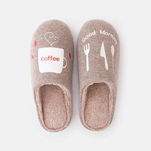 DogHaccd pantofole,Home inverno caldo paio di pantofole di cotone soggiorno femmina di spessore, antiscivolo scarpe carine Brown1