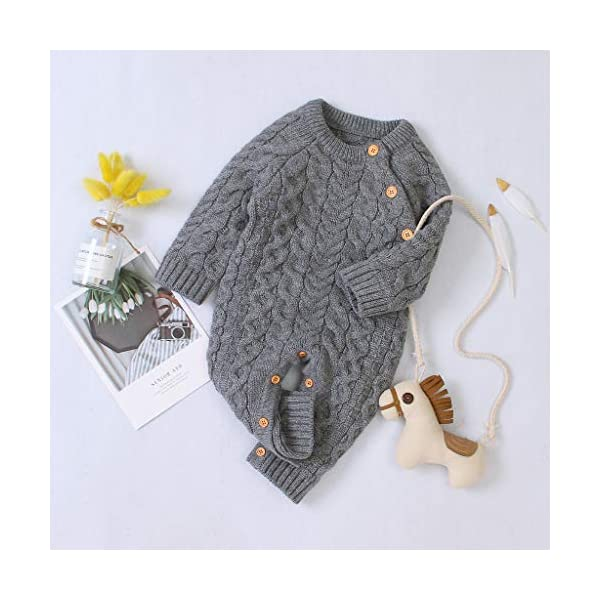Mameluco de Punto de Invierno para bebé,Bebé recién Nacido niño niña Invierno Color sólido botón suéter Mono de Punto… 5