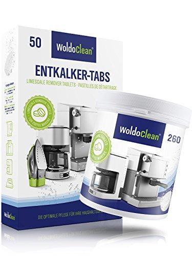 WoldoClean I 50x Entkalker-Tabletten I 260x Reinigungstabletten für Kaffeevollautomaten I Espresso-Maschine I Kapselmaschine I...