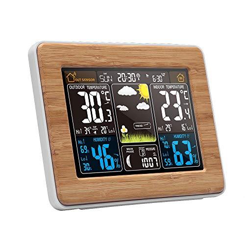 Funk Wetterstation mit Farbdisplay Smart Monitor Uhr mit Außensensor Temperatur Feuchte mit Außensensor Digitale Wetterstationen Thermometer Hygrometer Barometer Temperatur-Luftfeuchtigkeitsmesser