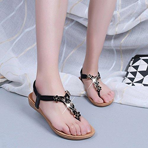 Hunpta Frauen Mode flache Schuhe Pailletten Böhmen Freizeit Lady Sandalen Peep-Toe Flip Flops Schuhe Schwarz