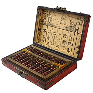 Larcele Aging Treatment Vintage Wooden Bead Arithmetic Lacquer Abacus for Children SP-01