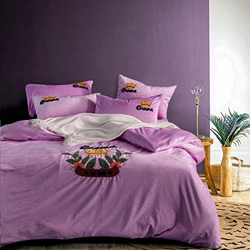 Ein Satz von vier crystal Coral samt Wildleder Betten. 1,8 m Kaschmir Bettwäsche Steppdecke Handtuch stickerei Bettwäsche vier Stück, Schön - Lavendel, 1,8 m (6 Fuß) Bett (Lavendel-bett-satz)