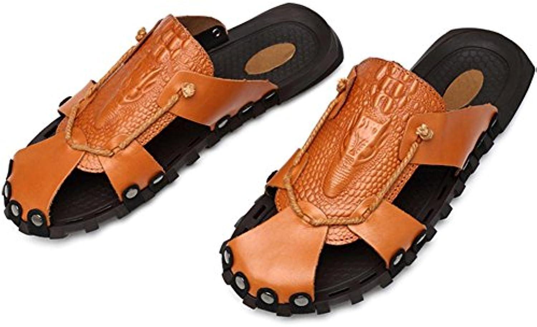 WXY Herren Sandalen Beach Garden Leder Sommer Baotou Dual   Use Nieten Mules Sandalen