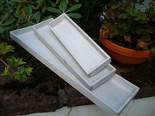 Dekoratives Tablett-Set, (3 Stück) Holz, grau-beige 60 x 15 cm