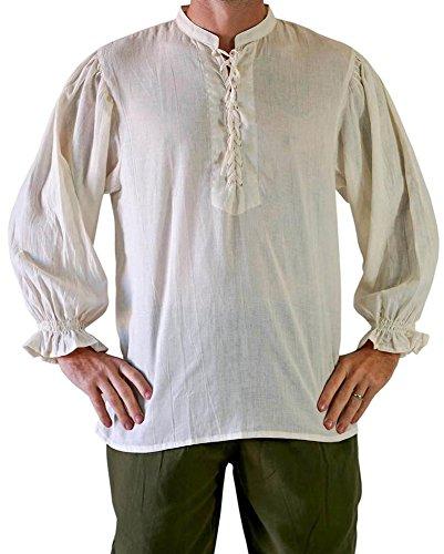 Pxmoda Herren Mittelalter Schnürer Pirate Mercenary Scottish Wide Manschettenhemd Kostüm (Weiß, XXX-Large)