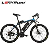 LANKELEISI T8 Elektrisches Fahrrad/Schneefahrrad / Bergfahrrad Motor 500 W 36 V 20 AH 7-Gang Li-Batterie leistungsstark E-Bike E-Bike Fahrrad MTB, Blau + schwarz