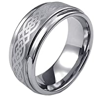 Konov Jewellery Mens Tungsten Ring, Classic 9mm Band, Color Silver, Size X (with Gift Bag)