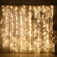 Cortina De Luces Navidad Exterior,3M*3M Cadena De Luces 300 LEDS Con 8 Modos Para Decoración De Ventana,Patio,Jardín,Bar,Navidad,Día De San Valentín,Boda,Fiesta,Decoración Del Hogar - Blanco Cálido