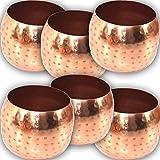 EDLES MAROKKANISCHES WINDLICHT Set Kupfer - 6 STÜCK in Hammerschlag Optik Orient Schalen Kerzen ~VDs A