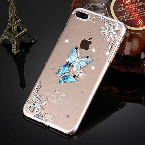 Hülle für iPhone 7 plus , Schutzhülle Für iPhone 7 Plus Diamond verkrustet drei Schmetterlinge Pattern PC Schutzhülle Back Cover ,hülle für iPhone 7 plus , case for iphone 7 plus ( SKU : IP7P0099C ) IP7P0099B