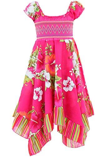 GILLSONZ Neu604vDa Mädchen Kinder Sommer Freizeit Kleid (110/116, Pink(604))