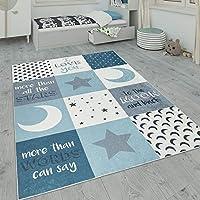 Paco Home Alfombra Infantil, Alfombra Habitación Infantil Lavable con Motivos De Estrellas, Luna Y Cuadros, tamaño:80x150 cm, Color:Turquesa