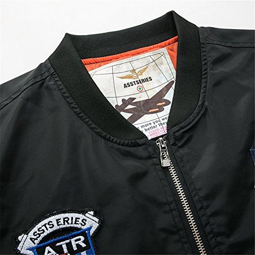 YYZYY Homme Classique Style rétro patches Flight Jacket Veste Bomber Pilot vol Flying Blousons Noir