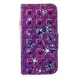 Uposao Handyhülle für Samsung Galaxy S7 Edge Handytasche Glänzend Glitzer Retro Muster Klapphülle Bookstyle Brieftasche Ledertasche Leder Hülle Standfunktion,Rosa Schmetterling Blumen
