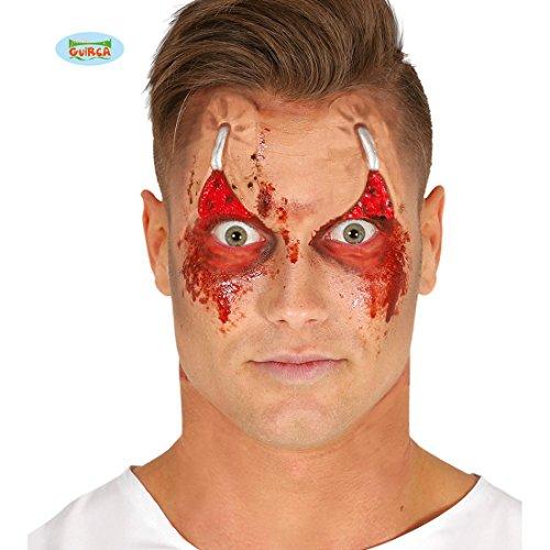 Amakando Zombie Latex Wunde mit Kleber Horror Schminke Augen Halloween Make Up Gruselige Kunstwunde Narben Wunden schminken Augenlieder Latexapplikation