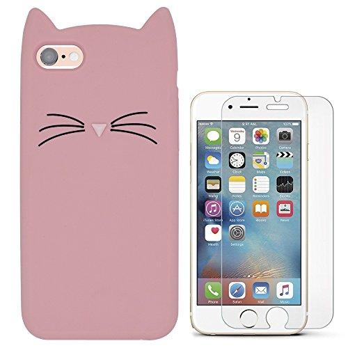 Hcheg 3D Silikon Schutzhülle Tasche für iPhone 6/6s Hülle Katze Design Rosa/weiß Case Cover + 1X Screen Protector