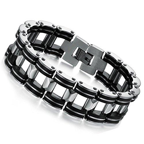 cupimatch Herren 18mm breit silber Ton Edelstahl schwarz Gummi Motorrad Biker Kette Link Armband 21,1cm