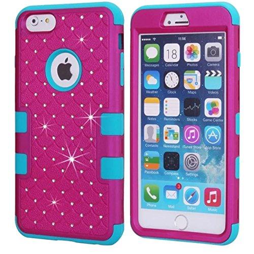 iPhone 6S Plus Case, iPhone 6 Plus de cas de Bling, Lantier [Disque souple Tough] concepteur Crystal Bling hybride Cover Case pour iPhone Armure 6 / 6s plus de 5,5 pouces blanc + noir Crystal Bling Blue+Fuchsia
