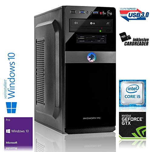 Memory PC Gaming PC Intel Core i5-9400F 6X 2.9 GHz, 16 GB, 480 GB SSD+1000 GB HDD, NVIDIA GTX 1650 4GB 4K, Windows 10 Pro 64bit
