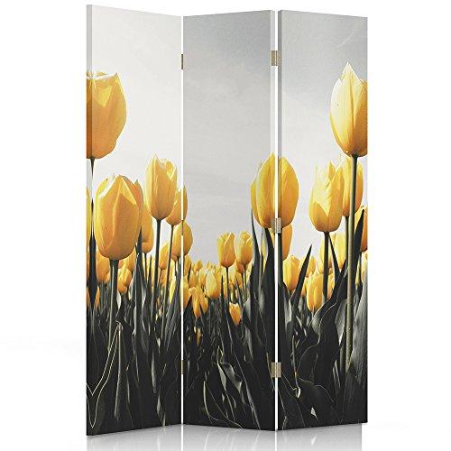 Feeby Frames, Paravent Intérieur, Paravent Toile, Paravent déco, Cloison de séparation, Paravent 2 Faces, 3 Panneaux (110x150 cm) Fleurs, Tulipes, Jaune, Vert,