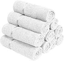 Story@Home Solid 10 Piece 450 GSM Rectangular Cotton Face Towel Set - White