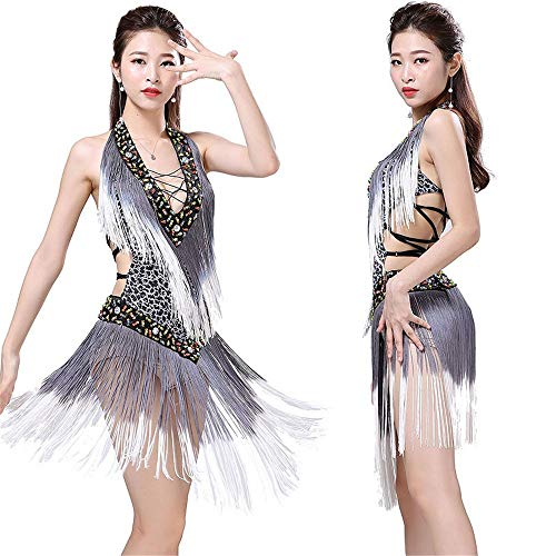 Cvbndfe Tanzkleid für Frauen Frauen ärmellose Tiefe V Lace-up Leopardenmuster Pailletten Quaste Latin Dance Dress Bühnenkostüme Rumba Samba Rhythm Tango Ballsaal Dancewear ()