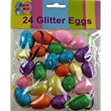 24 X Small Glitter Craft Easter Eggs - Hanging Decorations For Bonnets / Hats by DP