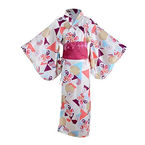 HongH Traditionelles Japanisches Kimono-Kostüm für Damen, elegant, Sakura-Zweig-Print, Yukata Kimono mit Obi Gürtel - - Groß