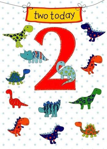 deux-aujourdhui-2-nd-carte-danniversaire-avec-dinosaures