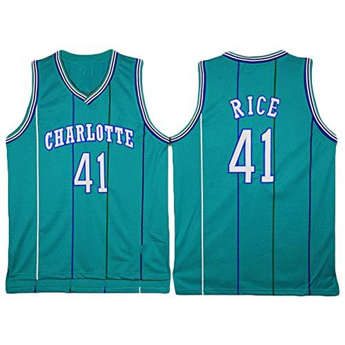 LITBIT Herren-Basketball-Jersey-Muster Charlotte Hornets 41# Glen Rice atmungsaktiv schnell trocknend Ärmel Sport-Weste-Spitze,Grün,M