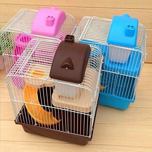 Generic QY-UK4-16FEB-20-3854 * 1**5869** Mascotas mster G Gerbil jaula de tamaño pequeño ratón Hot Ham botella de agua caliente de hámster ouse Sm cilindro de color: al azar: 2 pisos al azar niveles de color para suelo talón: al azar