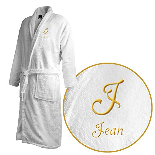 Bademantel mit Namen Jean bestickt - Initialien und Name als Monogramm-Stick - Größe wählen White
