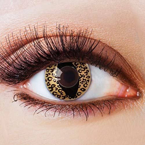 Cat Scary Kostüm - Farbige Kontaktlinsen Gelb Motivlinsen Ohne Stärke mit Motiv Gelbe Linsen Halloween Karneval Fasching Cosplay Kostüm Yellow Cat Eye Cateye Katzenaugen Katze