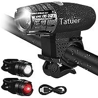 LED Fahrradbeleuchtung Wasserdicht ,Tatuer USB Fahrradlicht Fahrrad Licht Set 1* Wiederaufladbare Frontlicht Fahrradlampe 4-Modi + 2* Fahrrad Rücklicht 3-Modi für Nachtfahrer Radfahren Camping