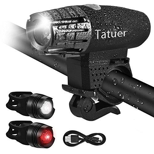 LED Fahrradbeleuchtung Wasserdicht ,Tatuer USB Fahrrad Licht Fahrradlicht Set 1* Wiederaufladbare Frontlicht Fahrradlampe 4-Modi + 2* LED Fahrrad Rücklicht 3-Modi für Nachtfahrer Radfahren Camping