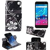 K-S-Trade Schutzhülle für Archos Core 55P Hülle 360° Wallet Case Schutz Hülle ''Flowers'' Smartphone Flip Cover Flipstyle Tasche Handyhülle schwarz-weiß 1x
